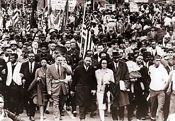 Dr. King and others marching